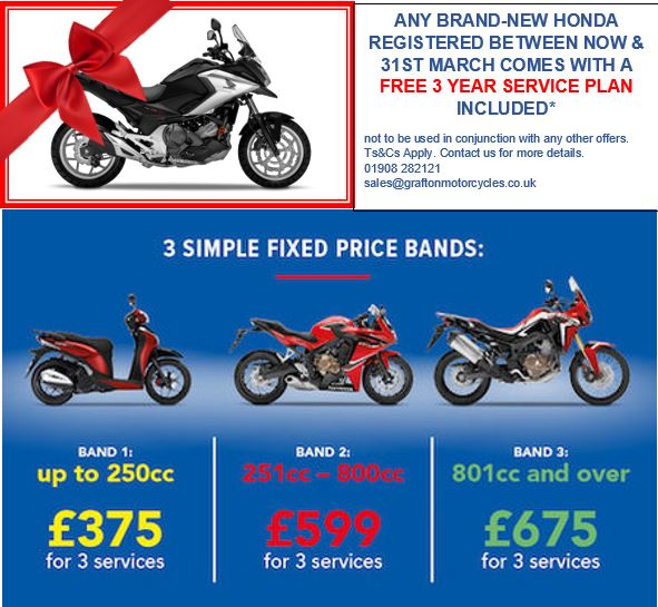 FREE 3 Year Service plan with a new Honda!