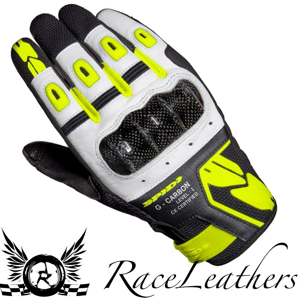 SPIDI-G-CARBON-BLACK-FLUO-SHORT-LIGHTWEIGHT-MOTORCYCLE-MOTORBIKE-SUMMER-GLOVES