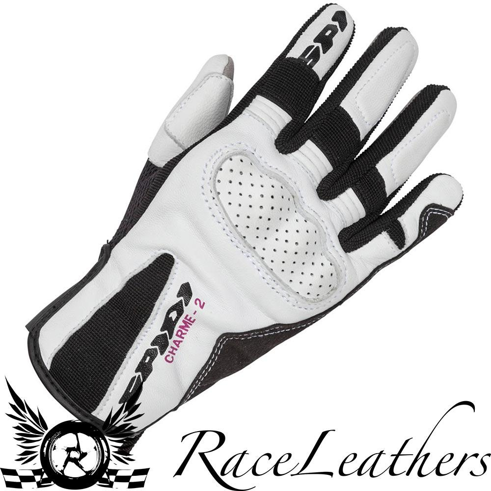 SPIDI-CHARME-2-CE-LADIES-WHITE-LEATHER-MOTORCYCLE-MOTORBIKE-BIKE-GLOVES miniature 1