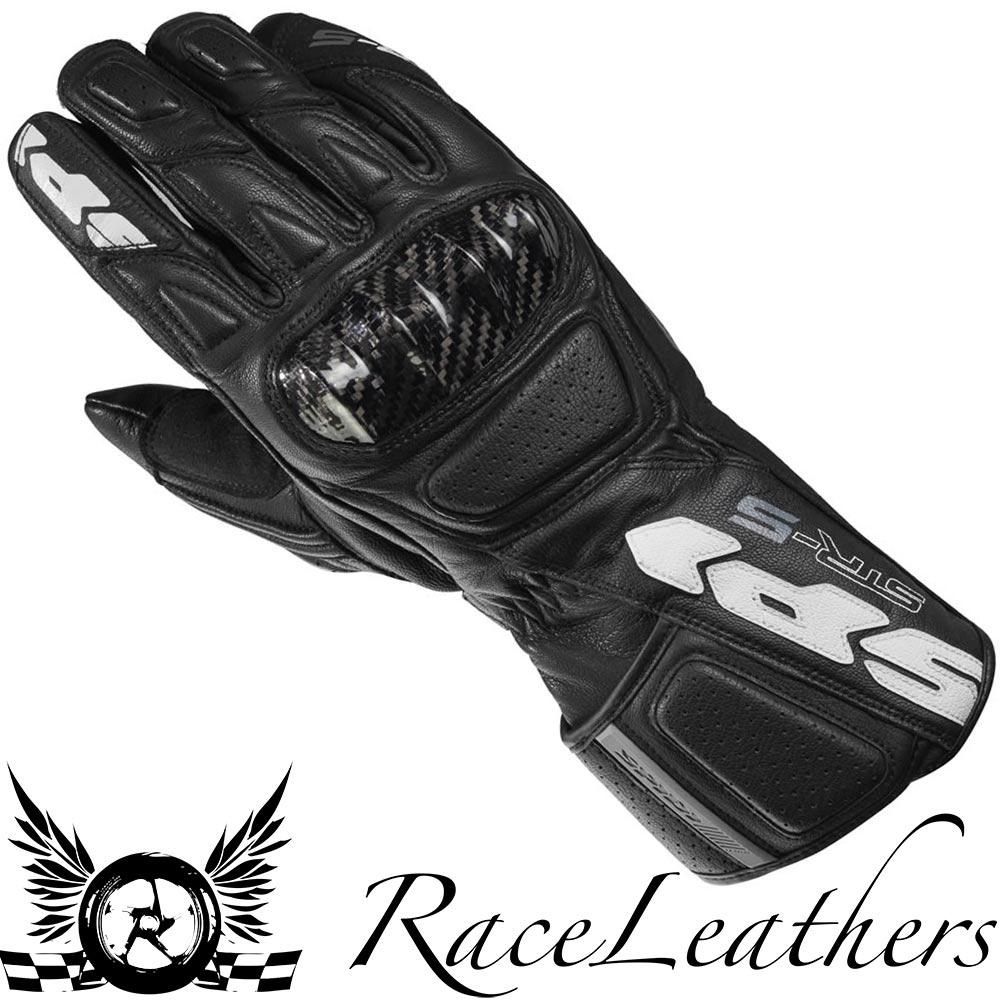 SPIDI-STR-5-CE-BLACK-MENS-LEATHER-MOTORCYCLE-MOTORBIKE-SPORTS-BIKE-GLOVES miniature 1